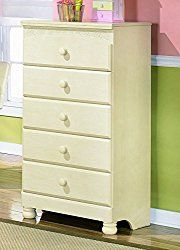 Ashley Furniture Signature Design – Cottage Retreat Chest of Drawers – 5 Drawers – Casual Arched Top Drawers – Cream Cottage