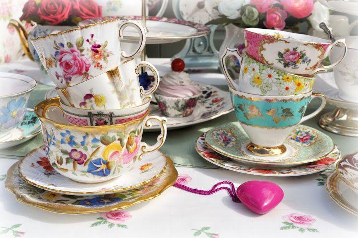 Beautiful vintage English china teacups and saucers