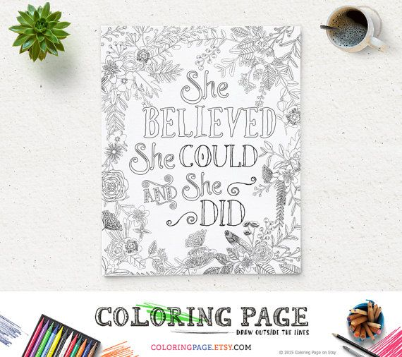 SALE Printable Quote Coloring Page She Believed She Could Instant Download Digital Art Zen Printable Adult Coloring Pages Zen coloring page