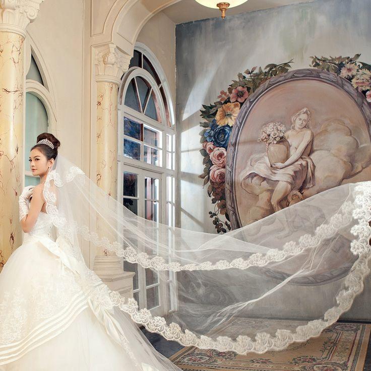 Bruiloft Sluier Bridal Hand Veils Kathedraal Sluier Ivoor/Witte Kleur Kant Vrouwen Bruiloft veu de noiva longo kathedraal bruiloft sluier