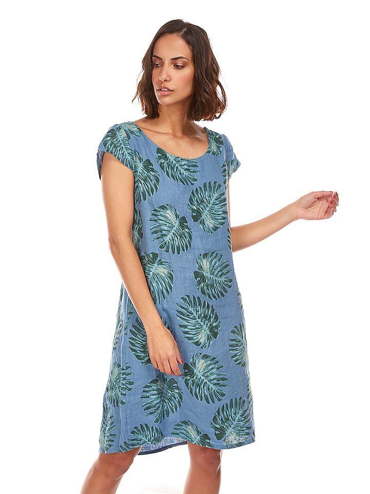 """Leinen-Kleid """"Pervenche"""" in Blau"""