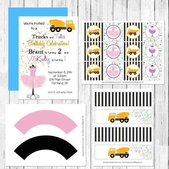 Trucks and Tutus Themed Birthday Party by LemonberryMoon on Etsy