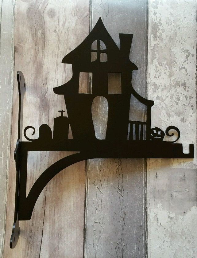 Haunted House with Graveyard and Pumpkin Heavy Duty Hanging Basket Bracket £23.95    *by Metal Magpie on Folksy*