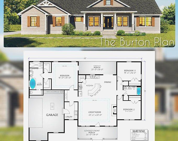 44x48 House 3 Bedroom 3 Bath 1645 Sq Ft Pdf Floor Etsy In 2020 House Plans Container House Plans Craftsman House