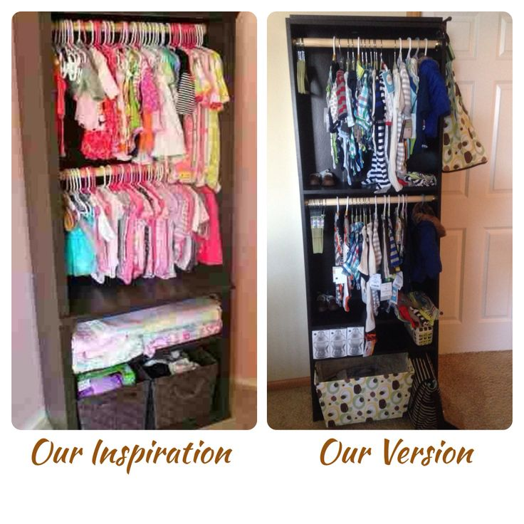 From a Pinterest inspiration. DIY Baby closet from bookshelf. Great for rooms without closets and small spaces.