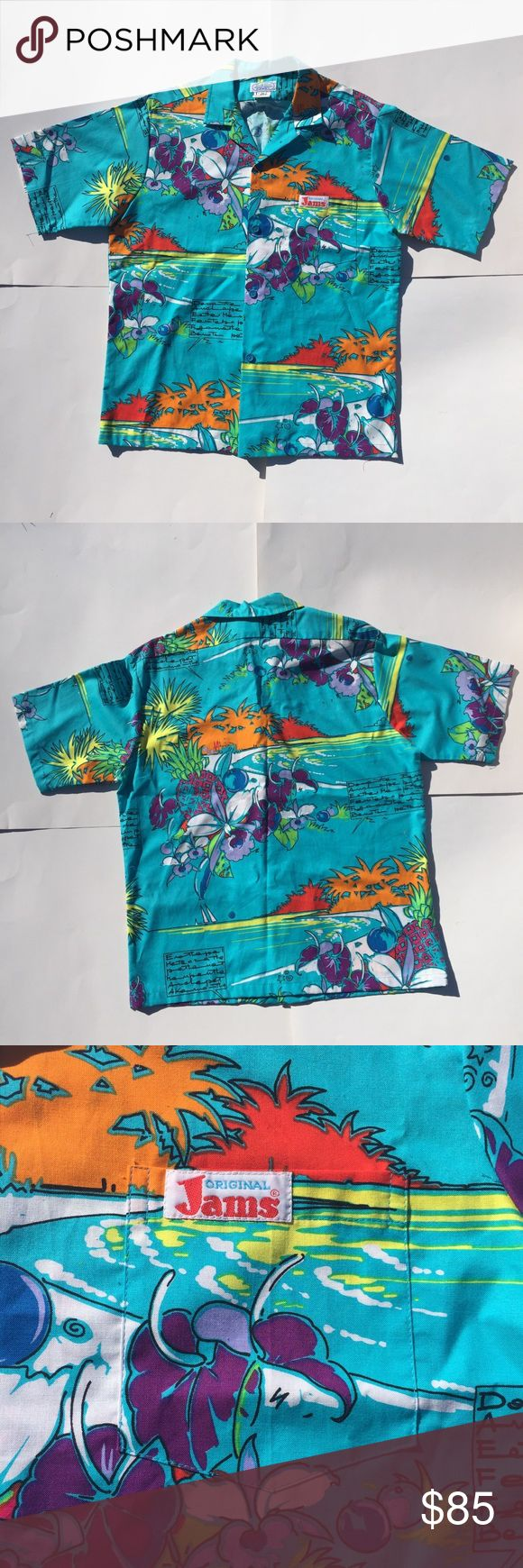 Vintage Hawaiian Shirt M Original Jams Surf Line Original Jams Hawaiian shirt size M. In excellent condition. Measurements provided upon request!   Tags: vintage, surf line Hawaii beach floral Vintage Shirts Casual Button Down Shirts