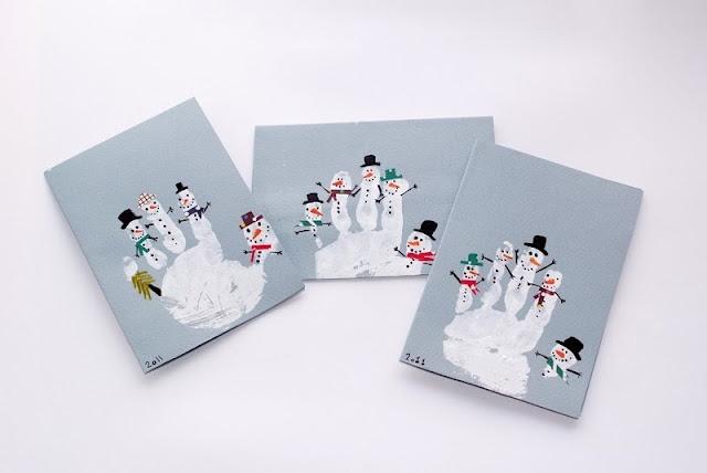 felt snowmen. fingerart snowmen