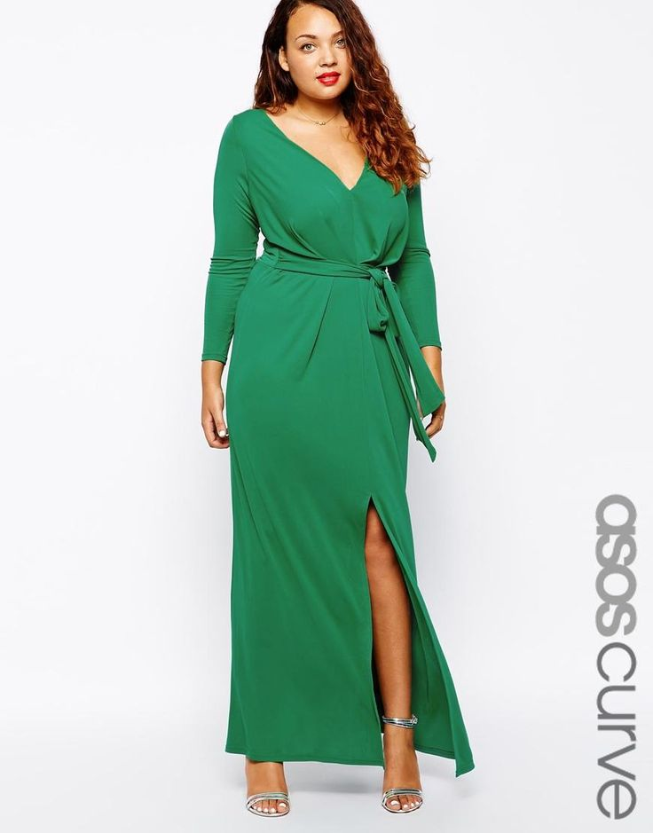 ASOS Curve | ASOS CURVE Maxi Dress With Tie Front at ASOS