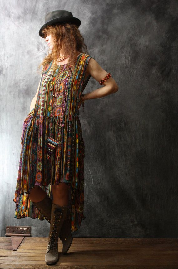 Vintage Dress 1980s Bohemian Gypsy Carnival Fishtail Dress india Rayon with Pockets