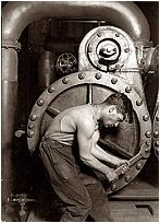 """Powerhouse Mechanic and Steam Pump"" (1920). One of Lewis Wickes Hine's celebrated ""work portraits"" made after he completed his decade-long project documenting child labor."