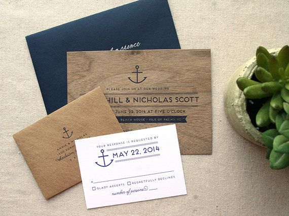 Nautical Real Wooden Wedding Invitation, Anchor Navy Wedding Invitation via Etsy