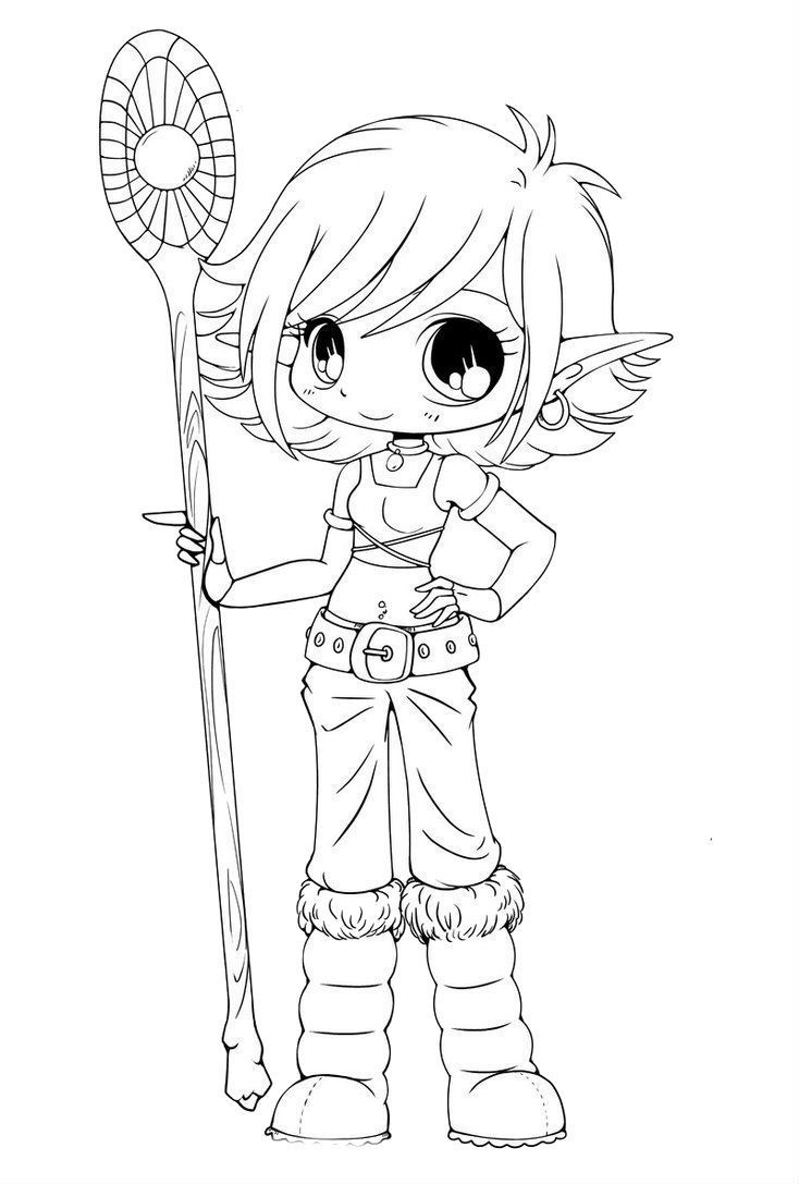 Cute Elf Coloring Pages Download 18 J Elves Woman Carrying A Stick Chibi Coloring Page Animal Coloring Pages Cartoon Coloring Pages Pikachu Coloring Page