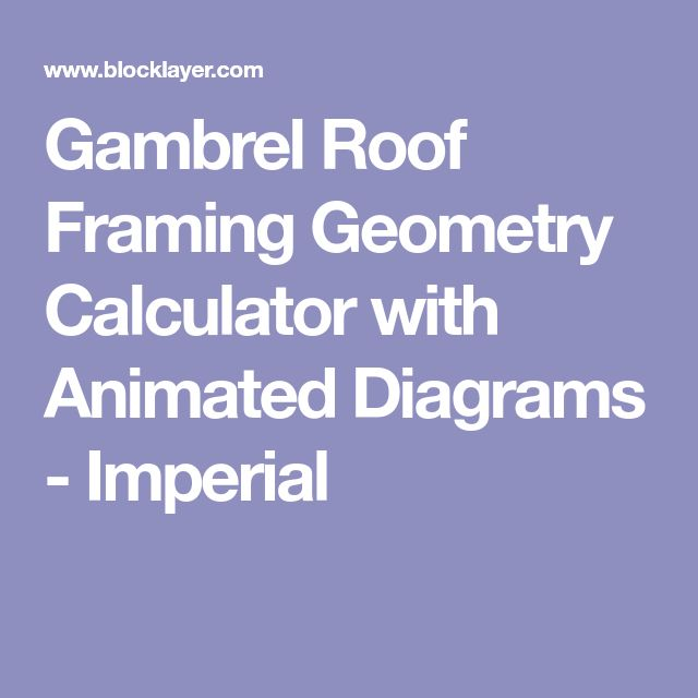 Gambrel Roof Framing Geometry Calculator with Animated Diagrams - Imperial