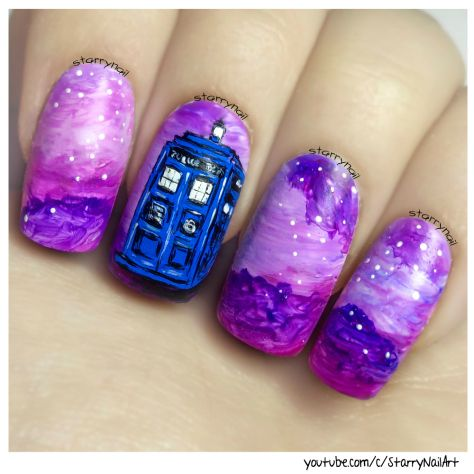 Tardis ⎮ Doctor Who⎮ Freehand Nail Art Tutorial
