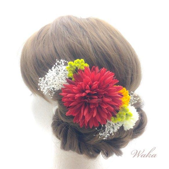 白無垢 結婚式 打掛 振袖 袴 かすみ草とマムの和装髪飾り Apd2 髪飾り 神前式 ヘアアレンジ