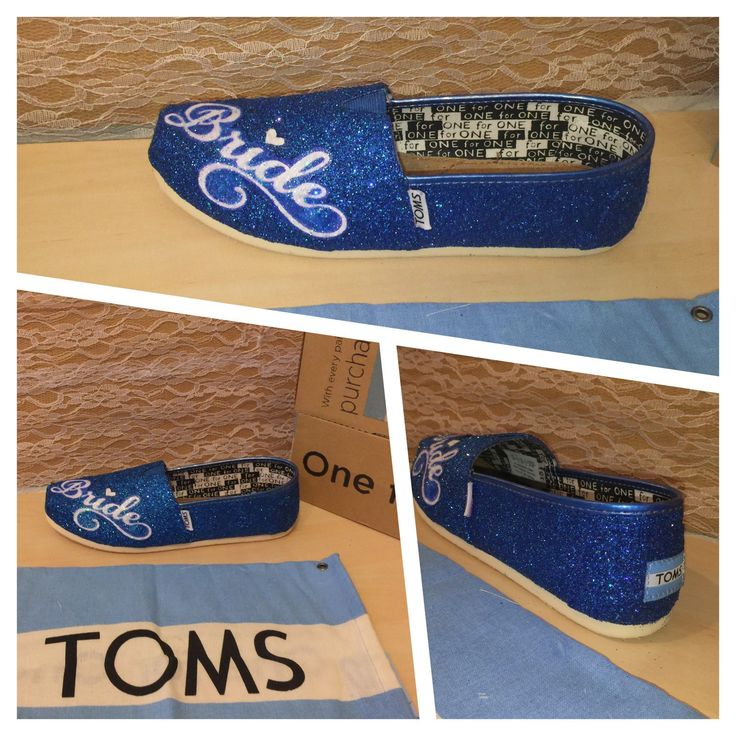 Women's sparkly something blue TOMS Handmade glitter Canvas slip on shoes bride wedding royal sapphire malibu navy white CHOOSE your COLOR by CrystalCleatss on Etsy