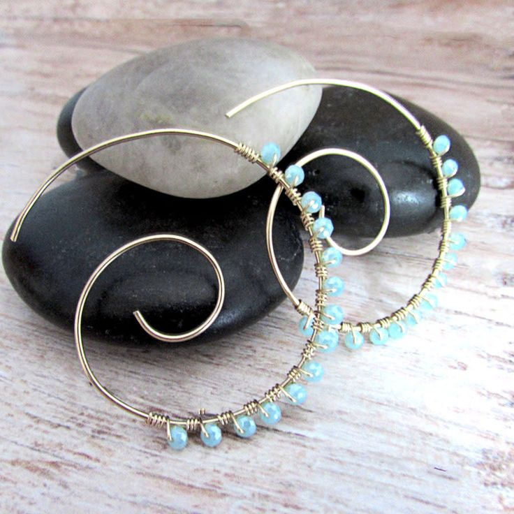Large Embellished Spiral Earrings by Raziela Designs