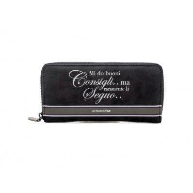 """LE #PANDORINE - Portafoglio ziparound WALLET """"Consigli..."""" in suede - Nero - Elsa-boutique.it <3"""