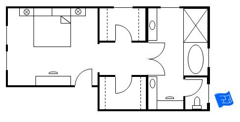 Master bedroom floor plan with the entrance straight into the bedroom.  We then progress past the walk-in closets and on to the master bathroom. Click onto site for more analysis.