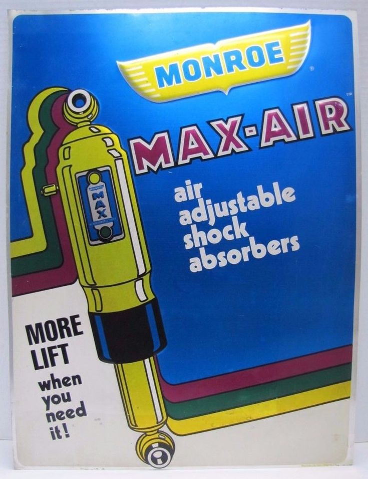 Orig 1970s Monroe Max-Air Sign Adjustable Air Shock Absorbers car truck auto adv