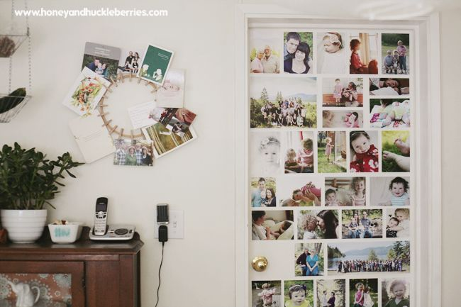 I like this door collage to display a lot of photos.