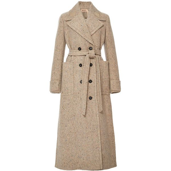 No. 21 Double Breasted Tweed Trench Coat (85.115 RUB) ❤ liked on Polyvore featuring outerwear, coats, jackets, no. 21, tweed trench coat, double-breasted trench coats, double breasted coat, oversized coat and brown double breasted coat