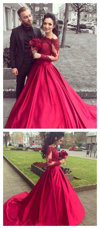 c04513245192 2018 A-line Prom Dresses Off Shoulder Burgundy Long Sleeve Prom Dress  Evening Dresses AMY439 | anju | Prom dresses, Prom dresses long with sleeves,  ...
