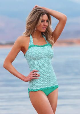 Mint Chevron halter from Divinita Sole Swimwear #DiviineModestee