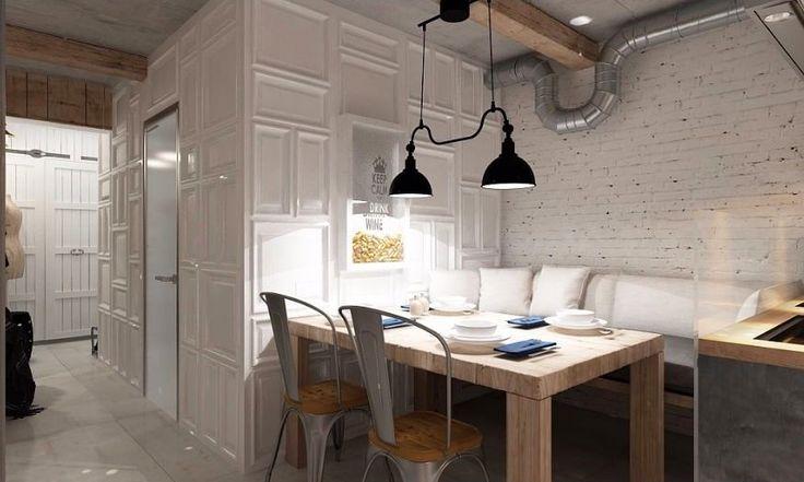 Кухня в цветах: черный, серый, светло-серый, белый, коричневый. Кухня в стилях: модерн и ар-нуво, лофт.