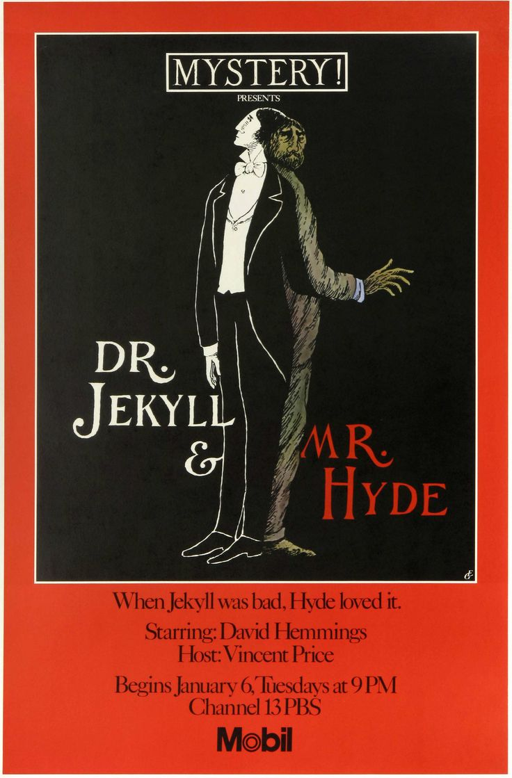 "Edward Gorey's 1981 poster for the ""Dr Jekyll and Mr Hyde"" program on Mystery (PBS)."