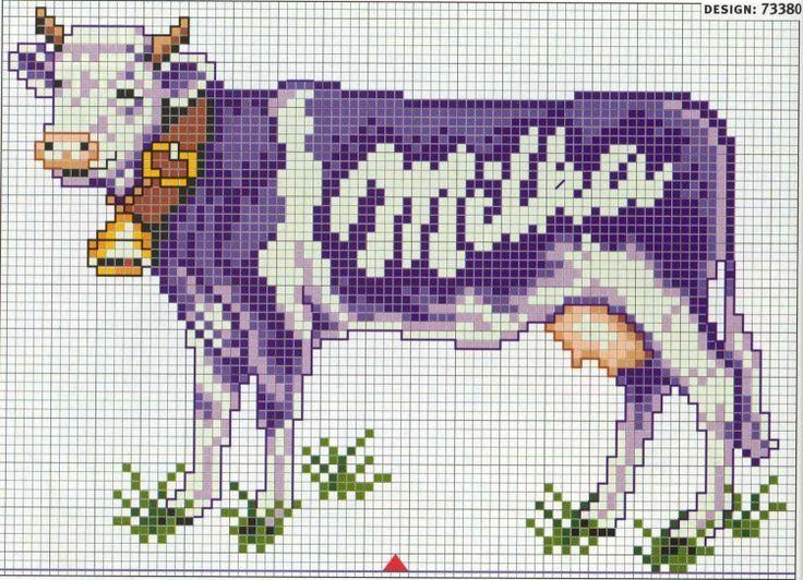Punto croce - Schemi Gratis e Tutorial: La mucca Milka non è solo di cioccolato