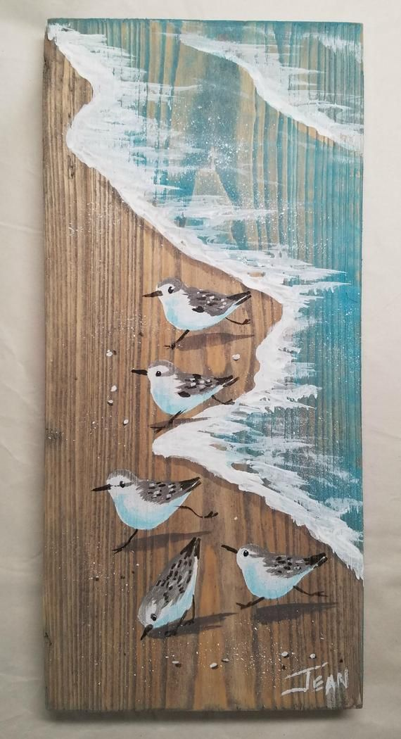 Sanderlings art – beach painting – beach house – reclaimed wood – plaque – sandpipers – coastal decor – vertical wall art