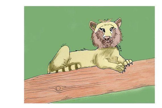 Stripe less white tiger illustration kids by littlelemontreeart