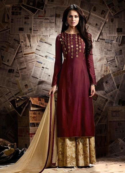 4e26551689 Sharara Suits Online Maroon Palazzo Style Zari Embroidered Party Wear  Sharara Suits in 2019 | Plazo Suits | Sharara suit, Bridal lehenga choli,  ...