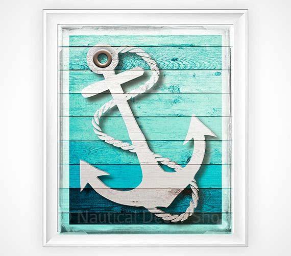 Nautical Decor, Rustic Anchor Print, Rustic Nautical Anchor Print, Sailing Nursery, Beach House Decor Faux Wood Art, Rustic Wall Decor
