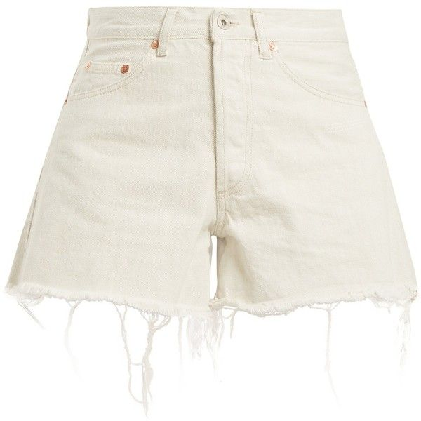 Off-White High-rise frayed-hem denim shorts ($332) ❤ liked on Polyvore featuring shorts, high-waisted shorts, short denim shorts, relaxed shorts, high rise jean shorts and relaxed fit shorts