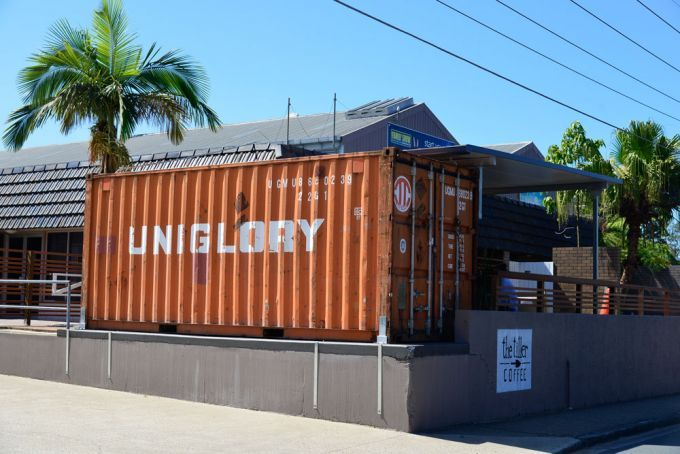 The Tiller Coffee's shipping container in Alderley, Brisbane