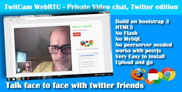 WebRTC VideoCall Twitter editionPrivate One on One Video chat for Twitter users onlyThis version...