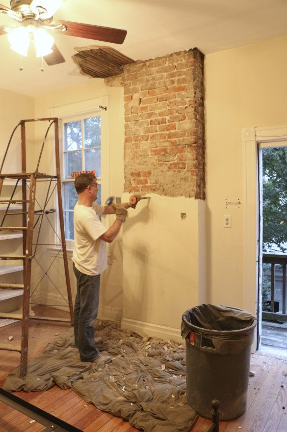 How To Remove Plaster From Brick How To Build It In 2021 Brick Chimney Exposed Brick Fireplaces Exposed Brick