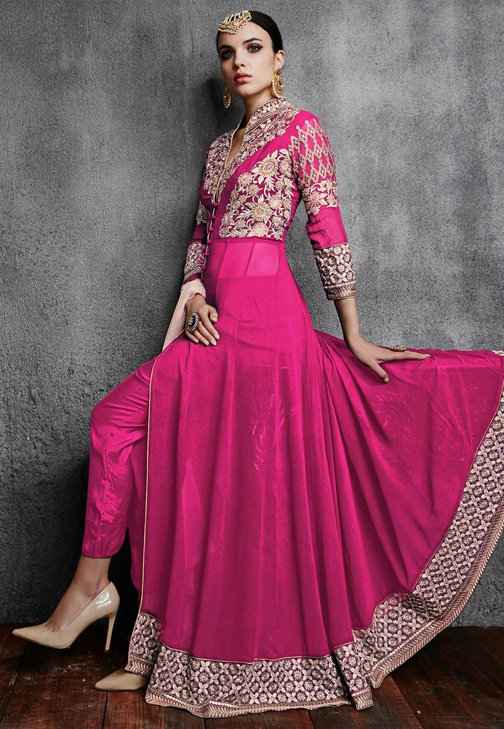 Buy Embroidered Georgette Abaya Style Suit in Fuchsia online, work: Embroidered, color: Fuschia, usage: Party, category: Salwar Kameez, fabric: Georgette, price: $84.57, item code: KEJ294, gender: women, brand: Utsav