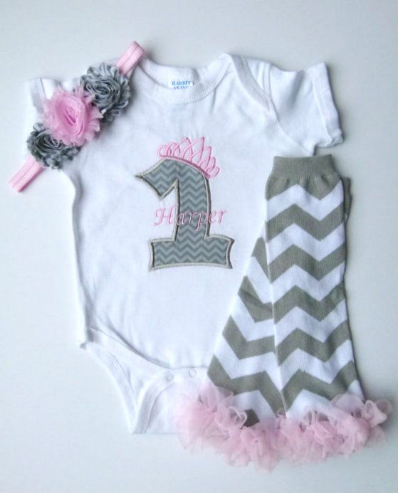 1st Birthday Girl Princess Pink Gray Chevron Personalized First Birthday Legwarmer Girl Outfit on Etsy, $22.00
