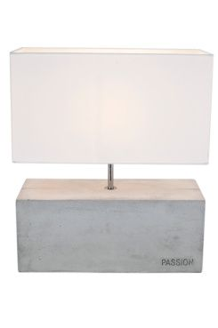 """By Rydéns Bordslampa Passion Bordlampa i betong med vit skärm och kromade metalldetaljer. Dekorativ text """"Passion"""" tryckt i betongen. H: 42 cm, L: 36 cm, B: 16 cm. E27 stor sockel max 40W.<br>Transparent kabel med brytare. <br><br>"""