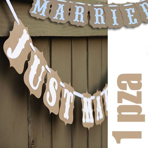 "Banderín ""Just Married"" color kraft"