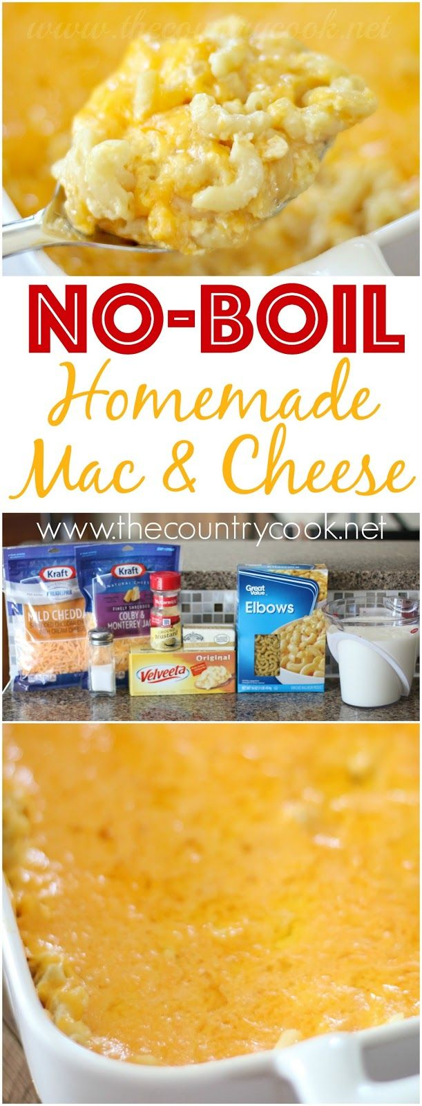No-Boil Homemade Macaroni and Cheese recipe from The Country Cook. No boiling the noodles beforehand! And it's all made in one dish so it saves on dirty dishes. Our favorite!Brandie | The Country Cook | Easy Recipes