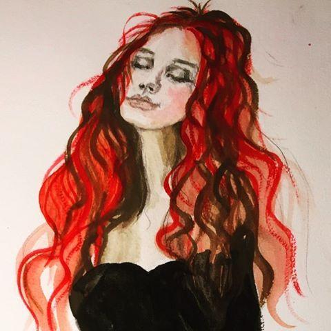 My study of Irene Sheri  - watercolors