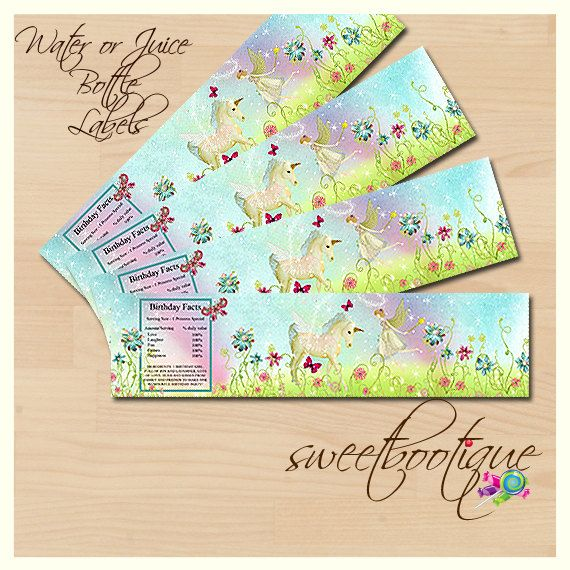 Unicorns & Fairies High Tea  Matching Water or by SweetBootique, $3.00