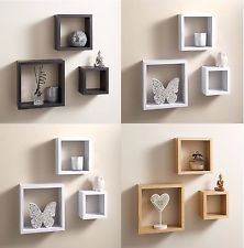 Set of 3 Cube Floating Wall Mounted Shelves CD-DVD-BOOK Storage Display Shelfs