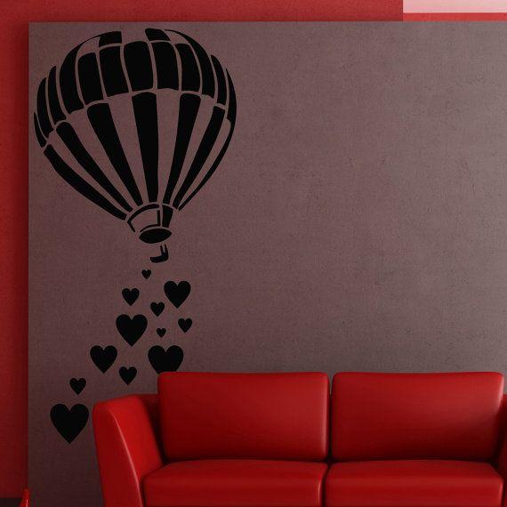 Wall Decal Vinyl Sticker Art Decor Design balloon paraglider flight plane basketair flight romantic heart love feeling height Bedroom