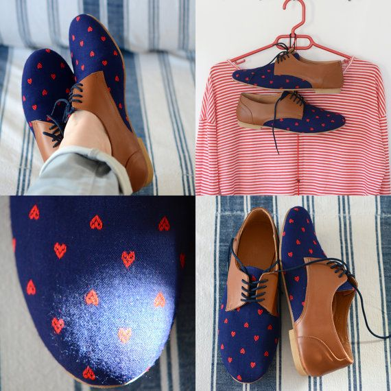 Leather shoes-Women Oxford flat Shoes-Women Shoes- Flat Shoes -blue red Leather Shoes-Unique Shoes-Handmade shoes-closed shoes-tie shoes