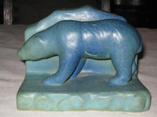 Rare Antique Arts Crafts Van Briggle Polar Bear Sea Art